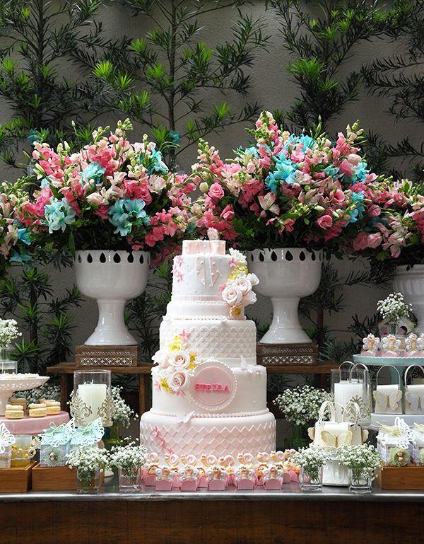 Aniversário com tema jardim das borboletas wedding cakes fancy cakes Festa tema jardim  -> Decoração De Aniversario Jardim Encantado Das Borboletas