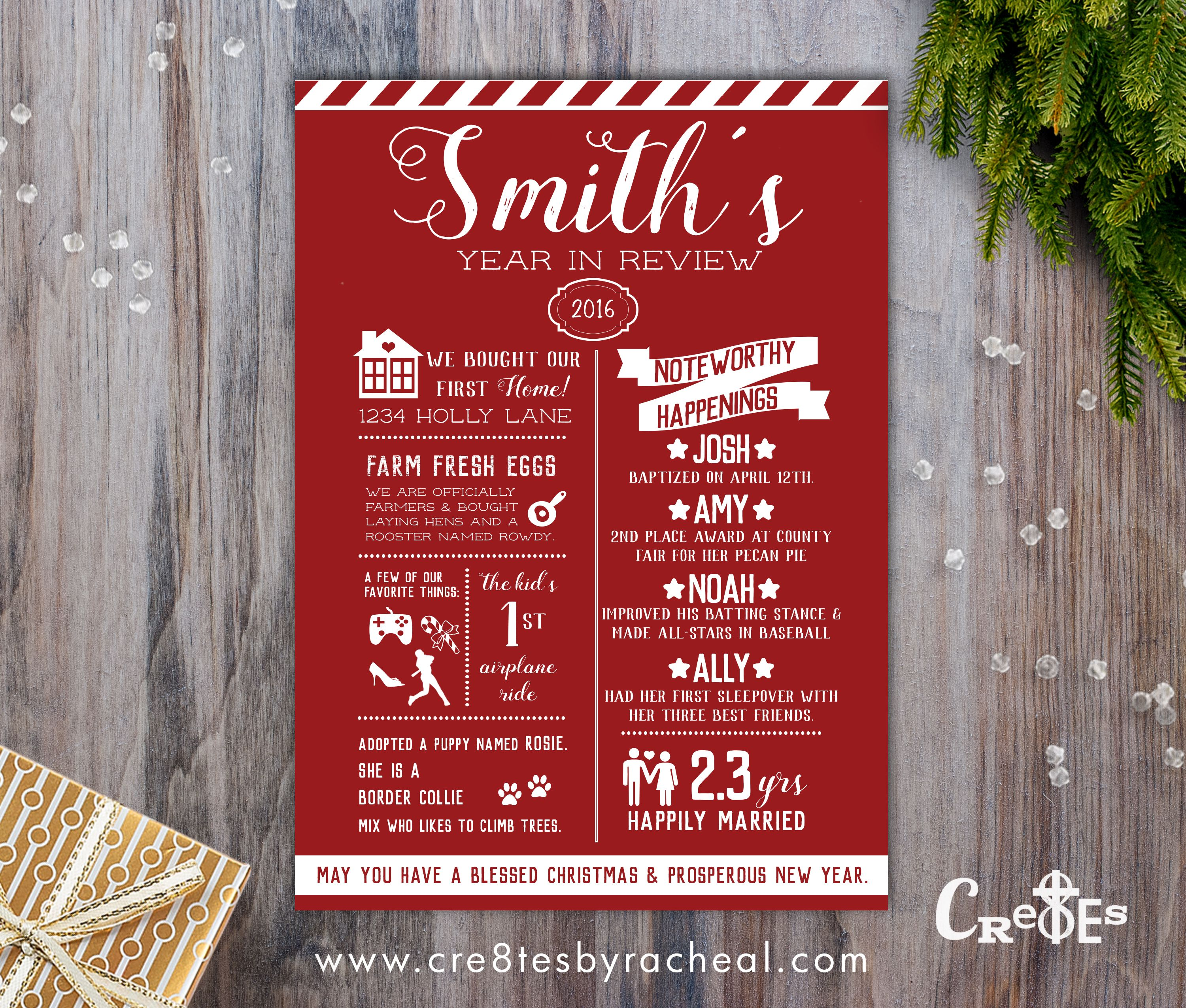 INFOGRAPHIC YEAR IN REVIEW FAMILY CHRISTMAS CARD | Christmas Cards ...