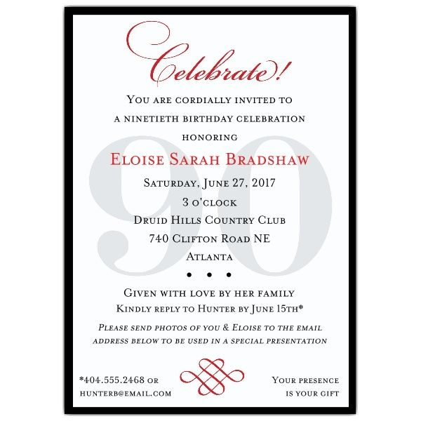 classic 90th birthday invitations | linda bean | pinterest | 90th, Birthday invitations