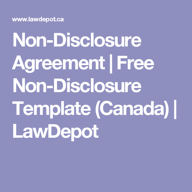 NonDisclosure Agreement  Free NonDisclosure Template Canada