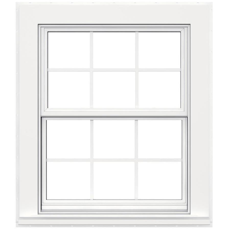 Jeld Wen Flat Casing Vinyl New Construction White Exterior Double