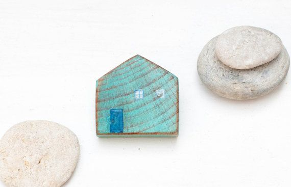 Wood house brooch  blue wooden house   patina  mint by CvetCvet, $12.00