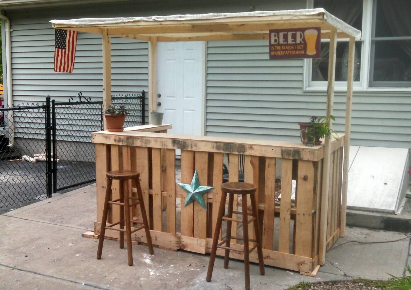 I made a backyard bar out of