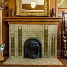 old style fireplace rookwood tile interior decor craftsman rh pinterest com