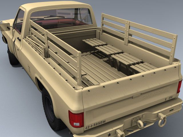 M1008 Cucv Us Desert Model 3dsmax Max 3ds Maya Lightwave Lwo Obj Fbx Chevy Wooden Truck Bedding Truck Interior