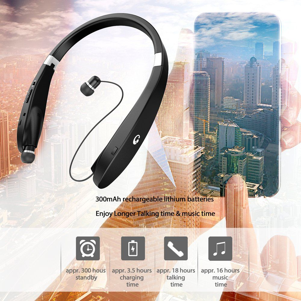 1880c3a6138 Bluetooth Headset, Bluetooth Headphones SX991-LBell Wireless Neckband  Design with Foldable Retractable Headset for Samsung Galaxy S9 Note 8 and  Other ...