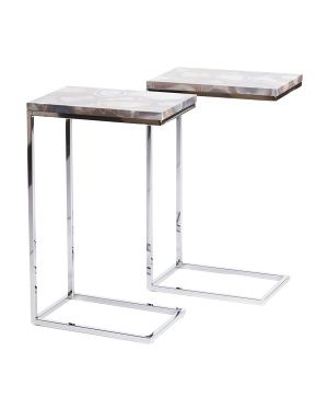 Set Of 2 Faux Agate Tables