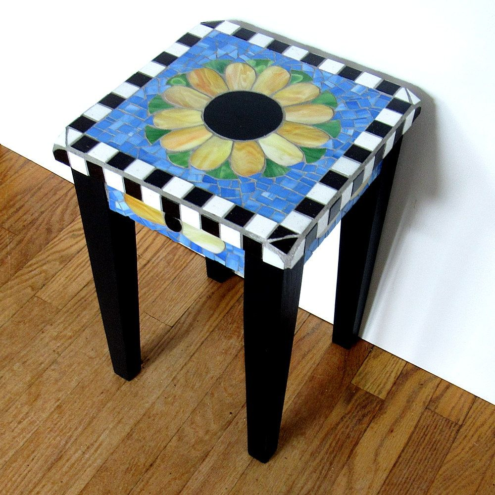 Mosaic Accent Table With Daisy Top Mosaic Table Accent Table Small