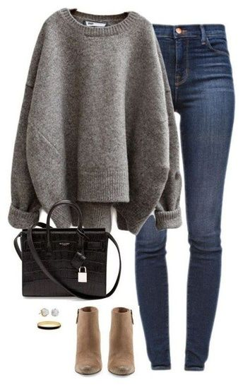 Shop The Look Casual Winter Outfit Cute Booties Chunky Sweater