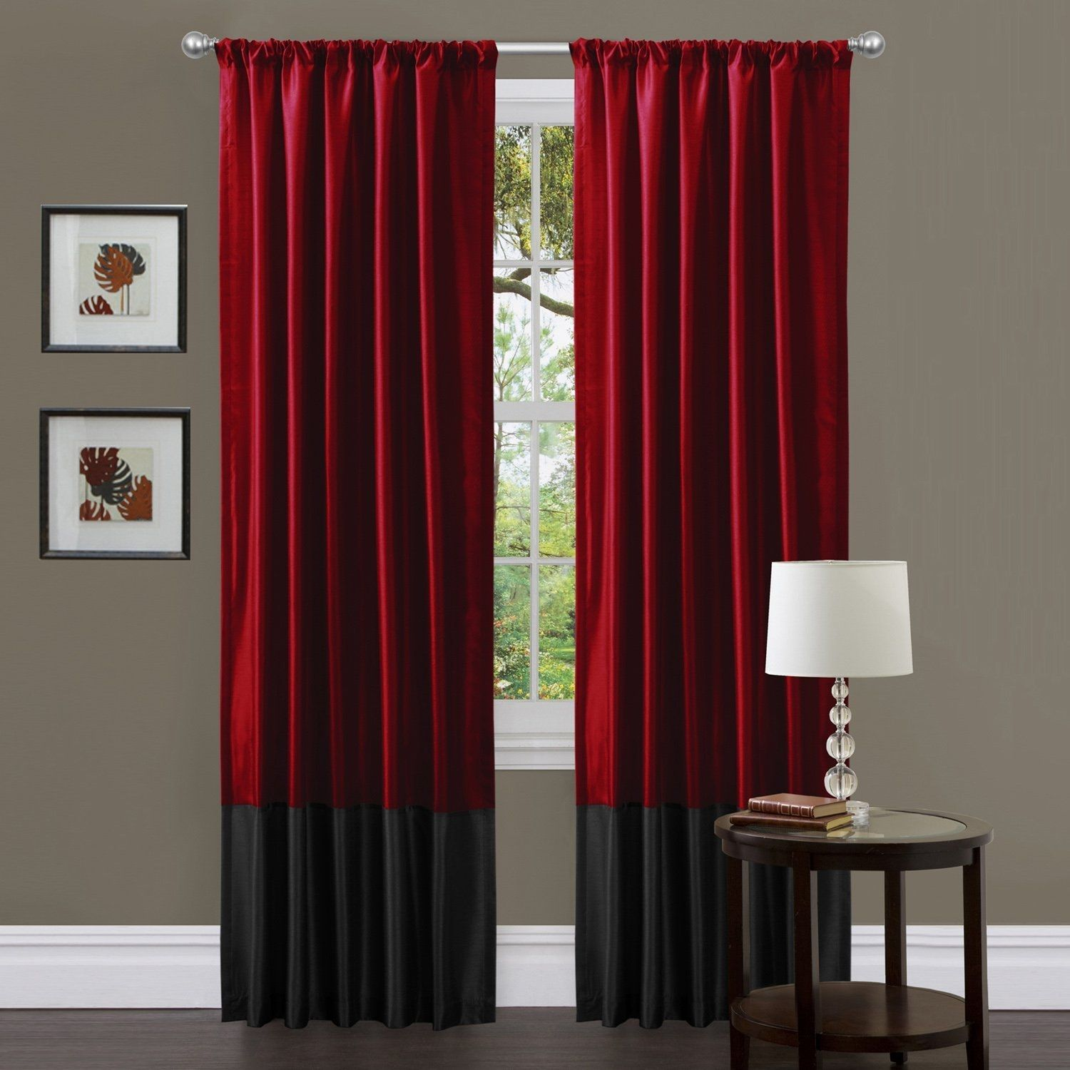 Room Red Black Curtains Living Room