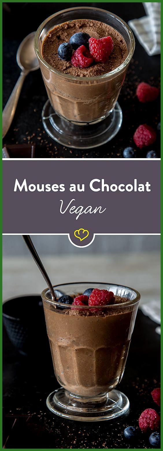 Genuss braucht keine Sahne: Vegane Mousse au Chocolat #braucht #Chocolat #Fitness food low carb #Fit...