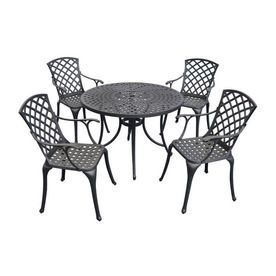 Crosley Furniture Sedona 5-Piece Charcoal Black Cast-Aluminum Patio Dining Set