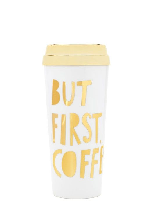 Start the day in style with a special edition hot stuff mug from Ban.do  This graphic insulated travel mug features an open and close slider on the shiny gold lid. The foiled lettering will make you feel like a million bucks.