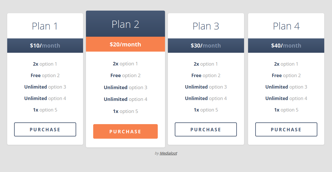 Responsive pricing table code snippets html css jquery for Table design css and html