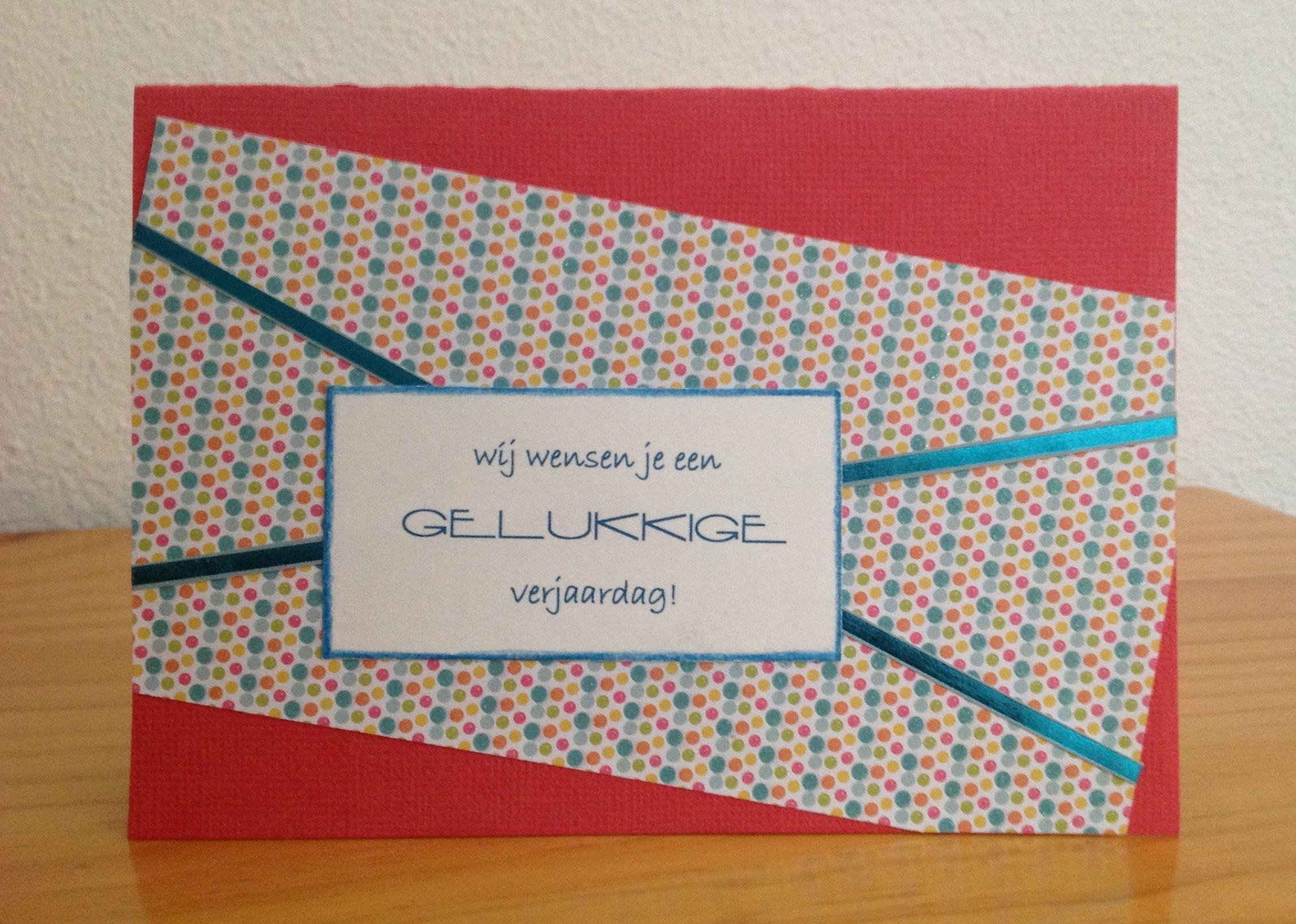 Met weinig materiaal eenvoudige verjaardagskaart gemaakt