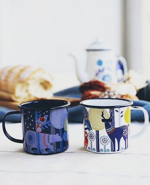 folklore day and night enamel mugs by wild wolf coffee tea rh pinterest com