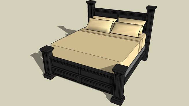 Large preview of 3D Model of Four Post King Bed
