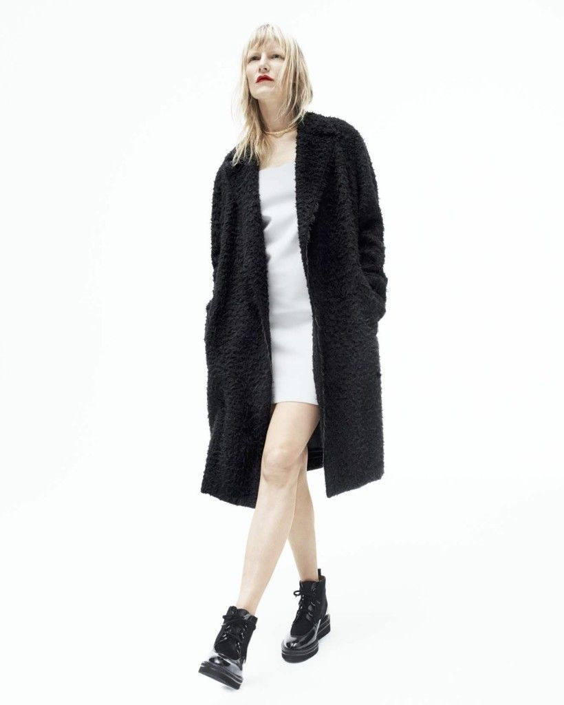 Helmut Lang on Kirsten Owen Long fuzzy coat, white dress and ankle boots