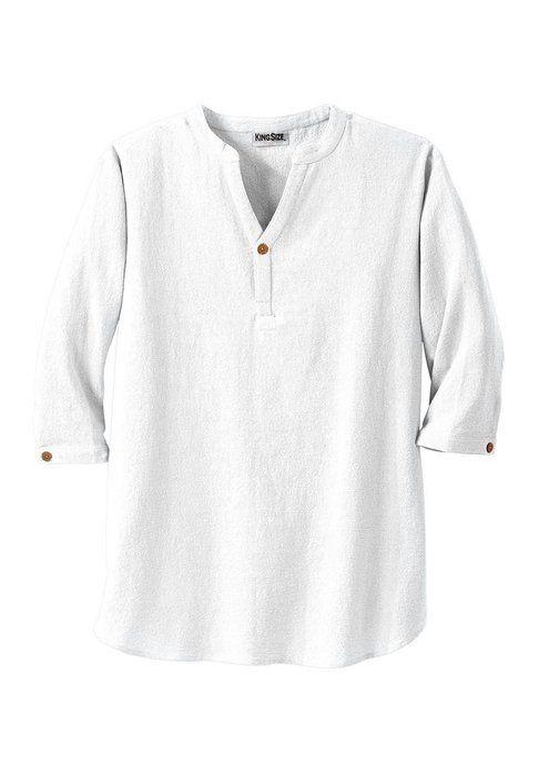 Kingsize Men S Big Amp Tall Gauze Mandarin Collar Shirt
