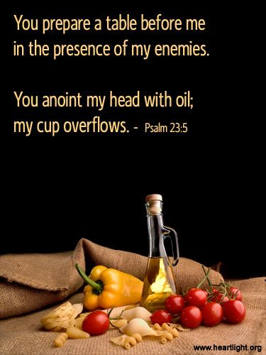 Inspirational Ilration Of Psalm 23 5 You Prepare A Table Before Me In The Presence My Enemies Anoint Head With Oil Cup Overflows