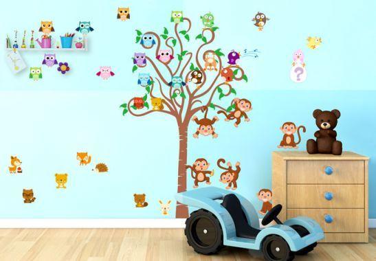 Adesivi Murali Con Animali.Adesivi Murali Albero Per Bambini Con Animali Bicolore