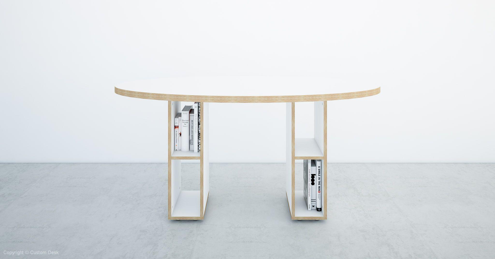custom plywood white desk with circular top made to measure custom rh pinterest com
