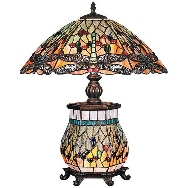 3 lights antique tiffany style dragonfly table lamp 340 ❤ liked on polyvore featuring dragonfly stained glasshandmade