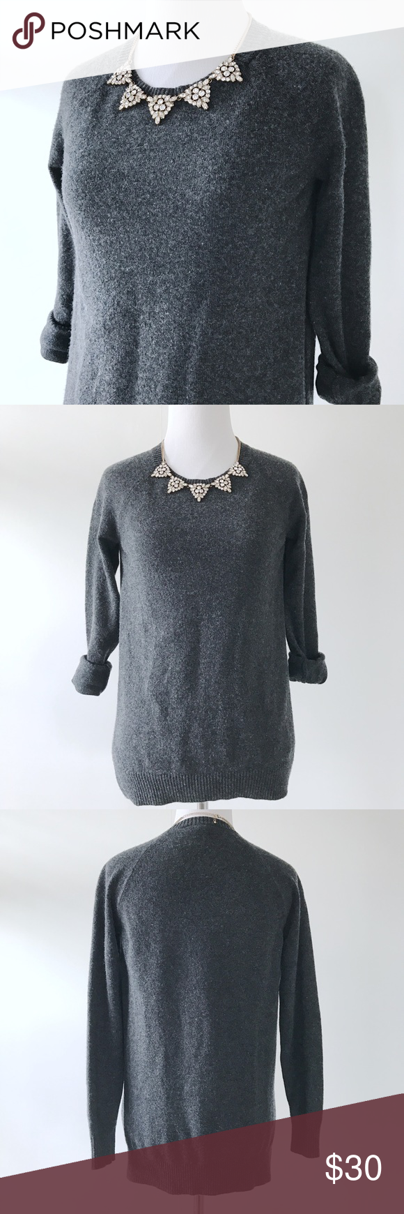 """❥ Ann Taylor Sweater Tunic Ann Taylor sweater tunic in dark grey. Very soft and comfy, goes well with leggings or skinny jeans. Add a colorful scarf or a statement necklace to pop :)  Size: XS Condition: NWOT Bust 16.5"""" / Length 25"""" measured flat  ⋆ Welcome offers, bundles, and questions ⋆⋆ Please don't ask for trade or lowest ⋆⋆⋆ Ships within 1-2 business days ⋆⋆⋆⋆ Instagram: Missoh_J  Please check the sizing before purchasing. Leaving negative reviews due to missed size is unfair to the…"""