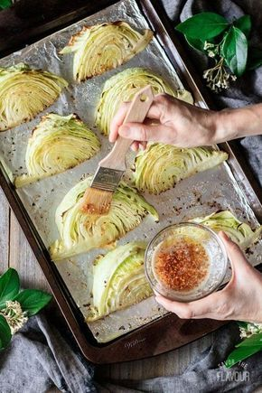 Roasted Cabbage Wedges with Lemon Garlic Butter
