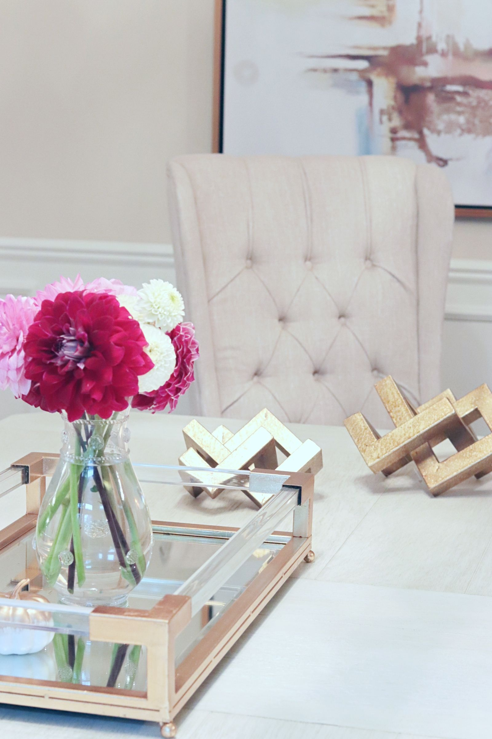 dining room ideas dahlias and a gold and acrylic tray our rh pinterest com