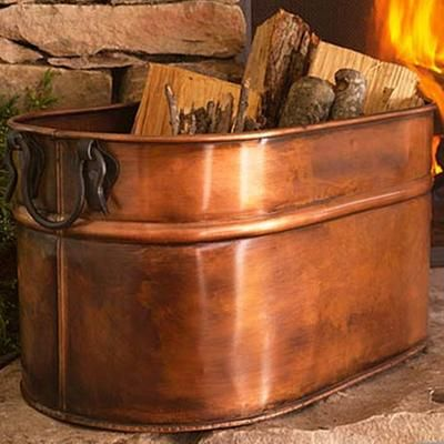 gift idea copper plated oval firewood tub pintowingifts rh pinterest com