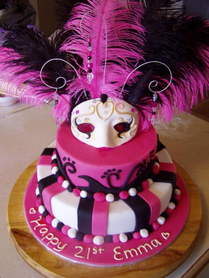 21st Birthday Masquerade Cake 12 Inch And 8 Inch Chocolate Cake