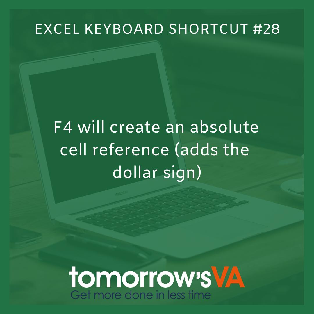 Microsoft Excel Keyboard Shortcut 28 F4 Will Create An