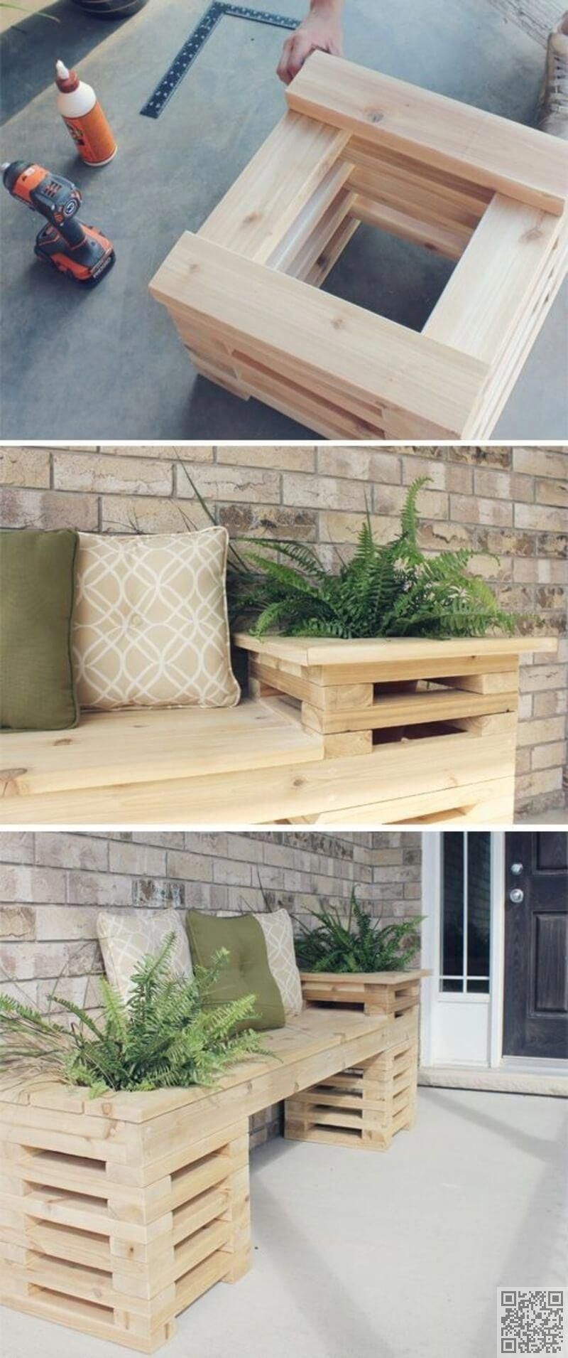 diy wood bench with planters deckdesigns pallet pjt in 2019 diy rh pinterest com