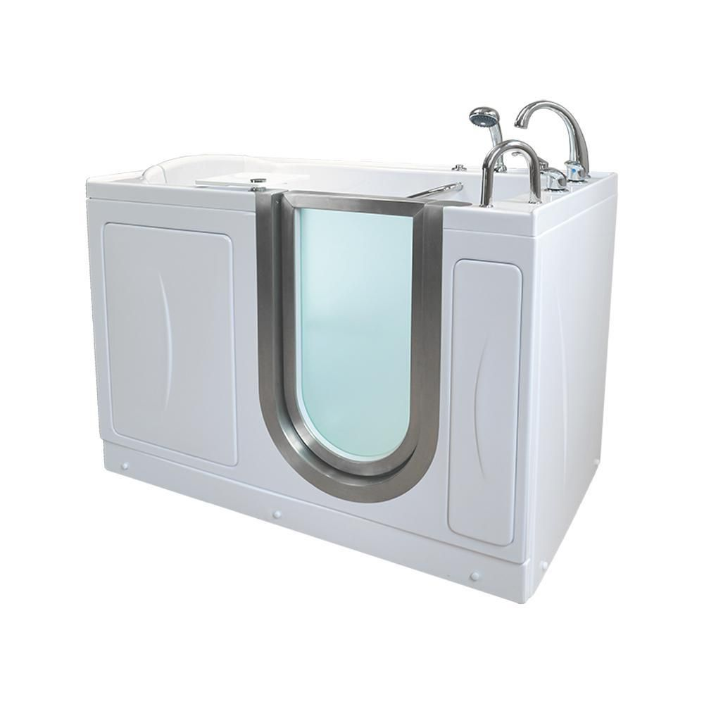 Ella Elite Acrylic 52 In Soaking Walk In Tub In White With 5