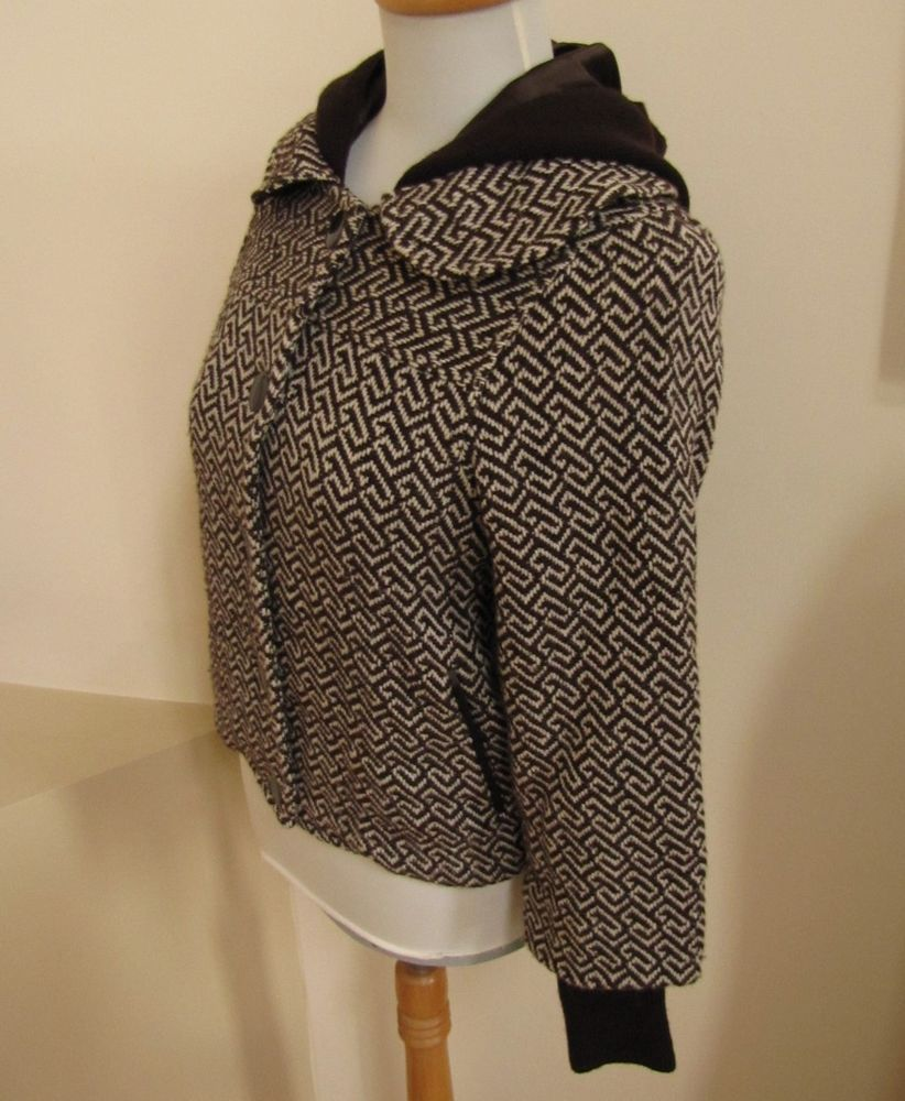 Alice + Olivia Jacket X Small XS Brown Coat Hooded Wool blend Tweed knit Trim  #AliceOlivia #BasicJacket