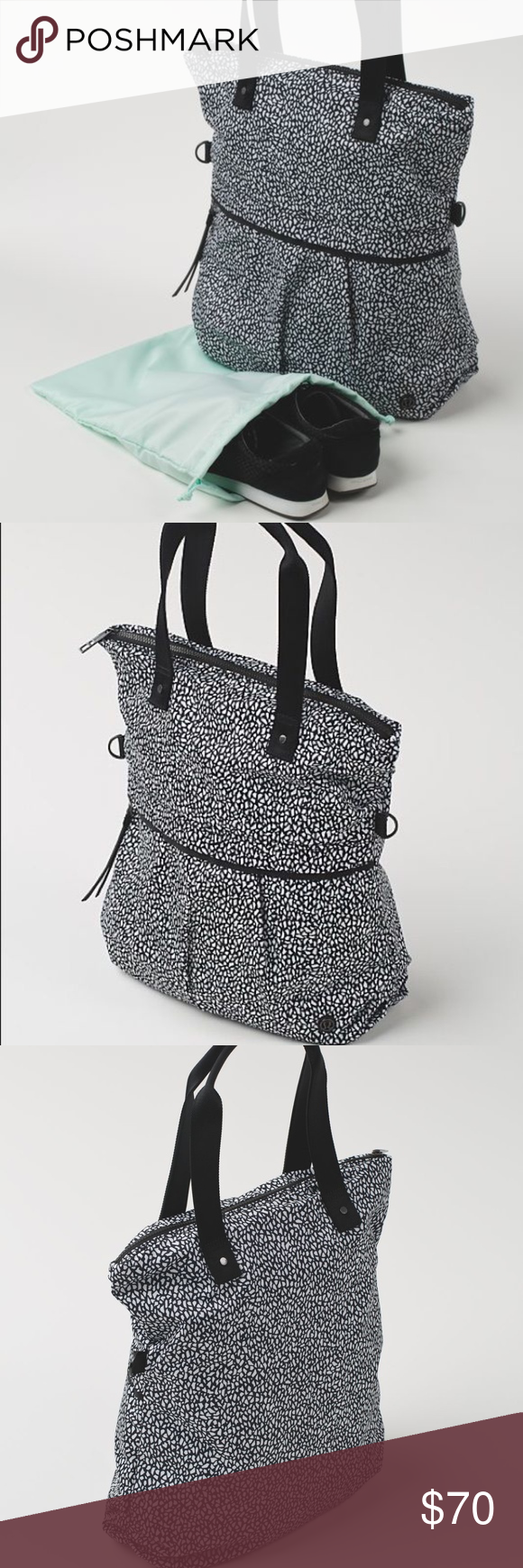 56d92a1627 Lululemon Twice as Nice Tote Good weekend bag or gym bag and black and  white print easily goes with existing closets. Mint interior and I do have  the ...