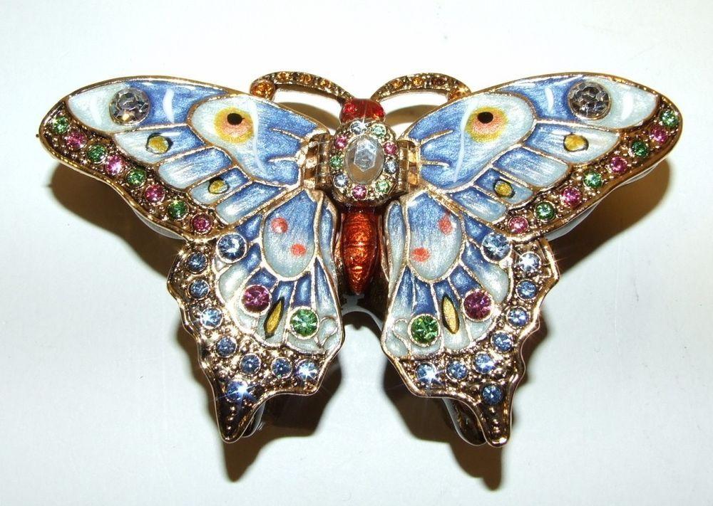 Bejeweled Enameled Butterfly Hinged Trinket Box W/Swarovski Crystals Large Blue