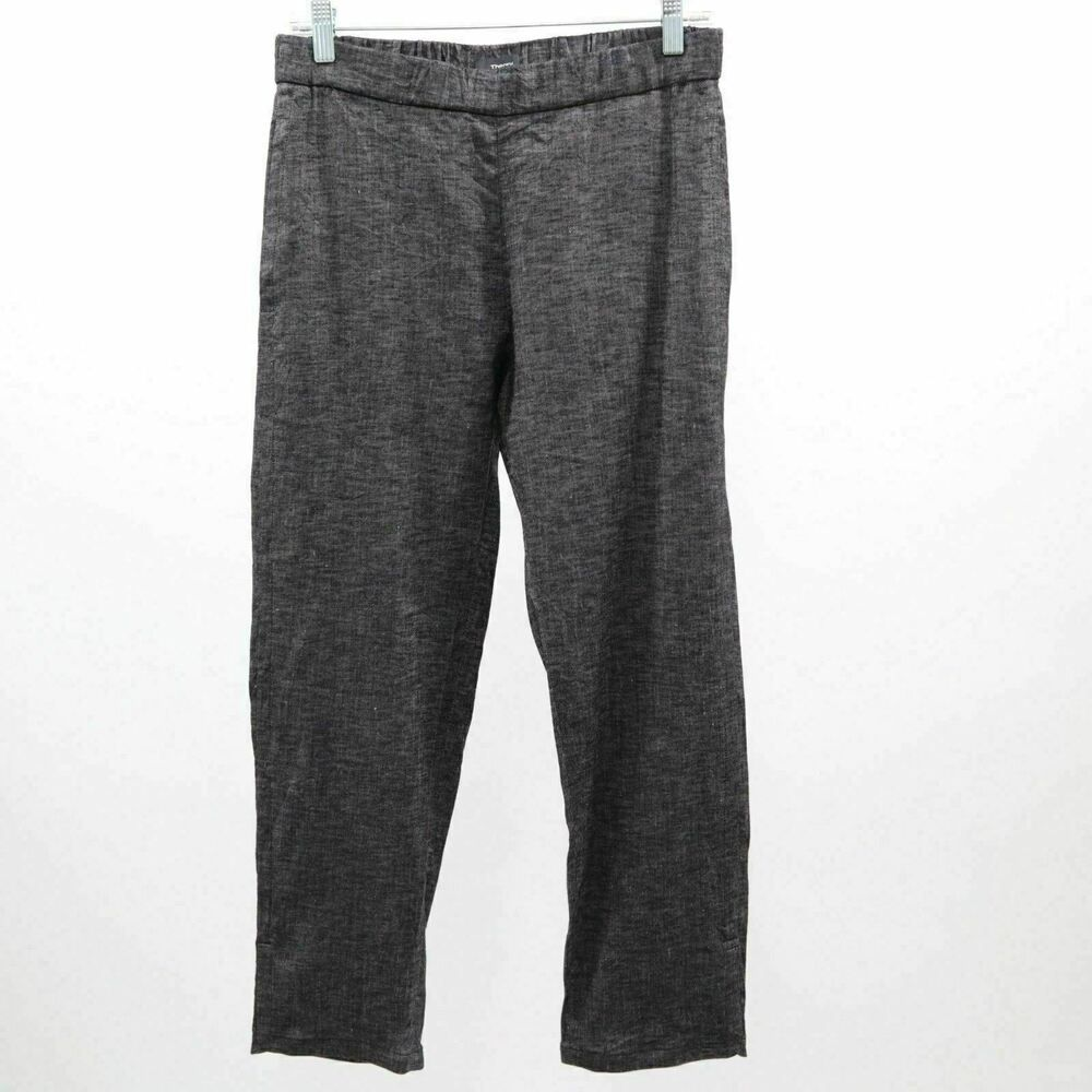 d44ad824d2 Theory Pants Cropped Womens Linen Blend Sz 4 Thorina Relaxed Fit Gray  #Theory #Loose