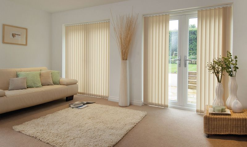 Cream Vertical Blinds Design For Living Room Window