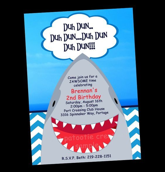 Free Printable Shark Party Invitations E S Birthday Party