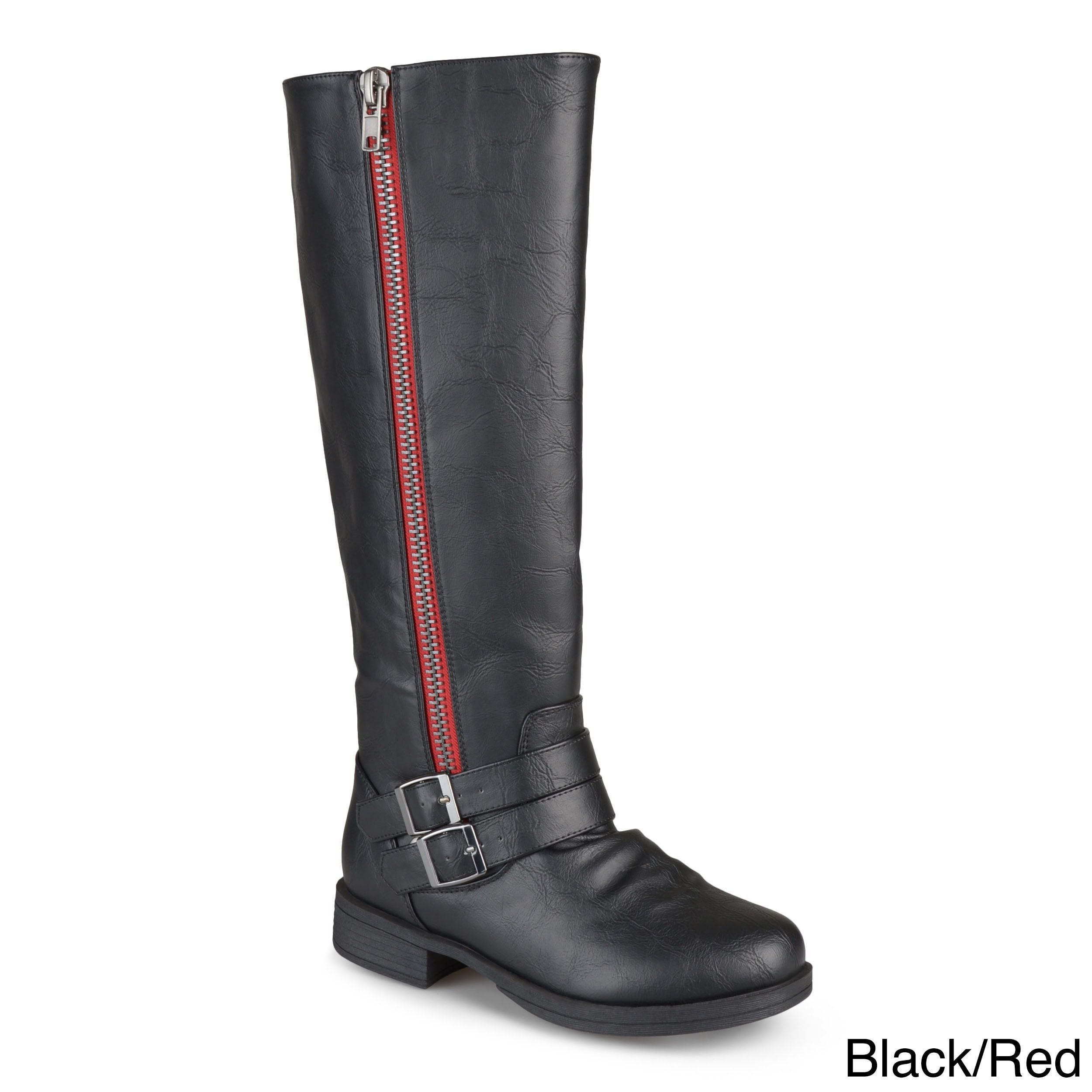 7941a01a18b5 Journee Collection Women s  Lady  Regular and Wide-calf Side-zipper  Knee-high Riding Boot (Black Red- 7.5) (leather)