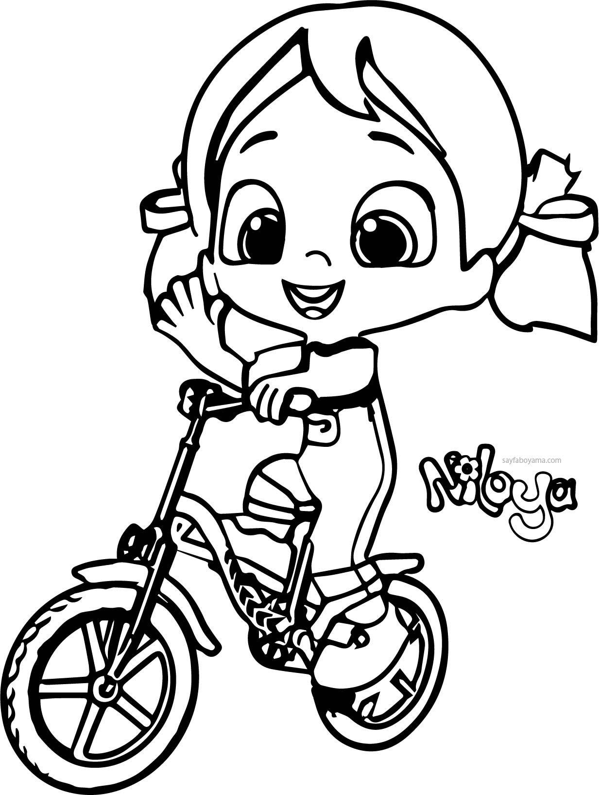 Niloya Bisiklet Kullaniyor Boyama Sayfasi Sayfa Boyama Niloya