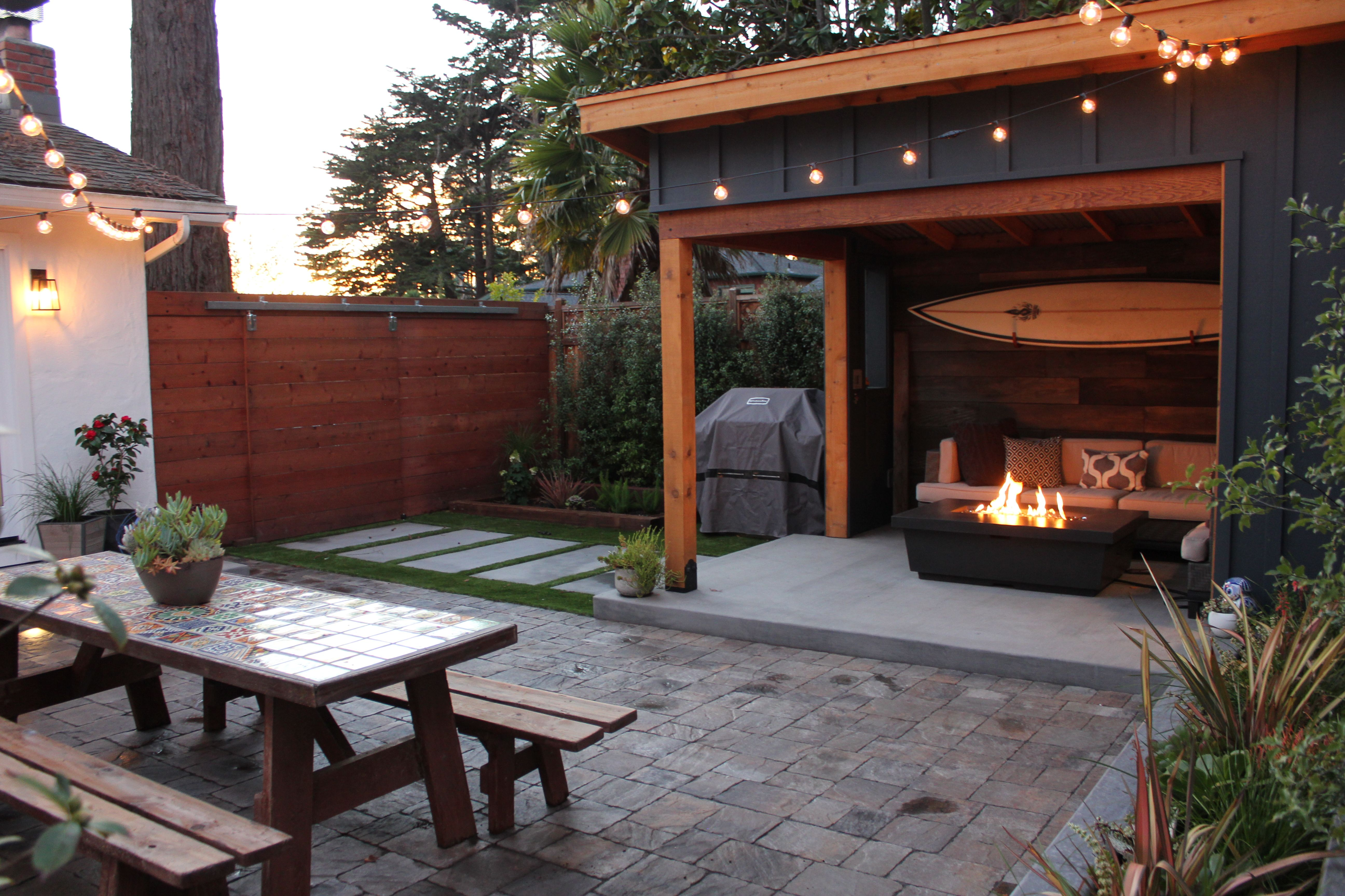 our outdoor room and small yard after corrugated metal roof rh pinterest com