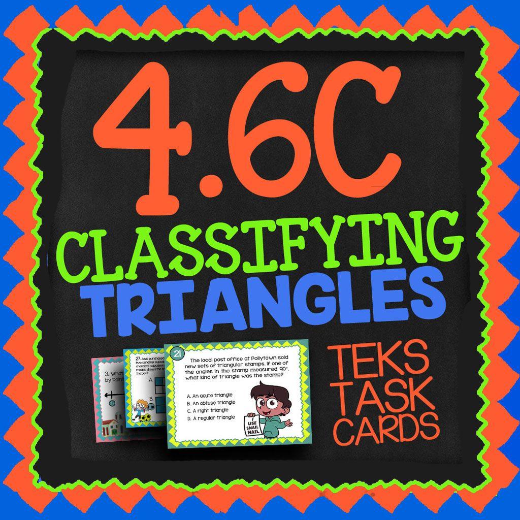 Math Tek 4 6c Classifying Triangles Task Cards Acute