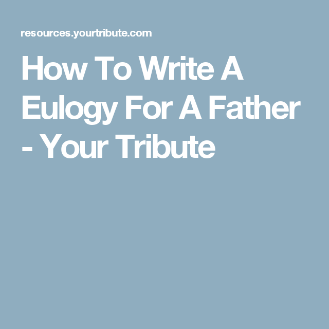 write a eulogy Writing funeral eulogies being asked to write funeral eulogies is a great honor it is one last gift that you can give to the deceased and his or her loved ones but unless you are an experienced public speaker and speechwriter, preparing and delivering the eulogy can be a daunting task the process is further complicated.