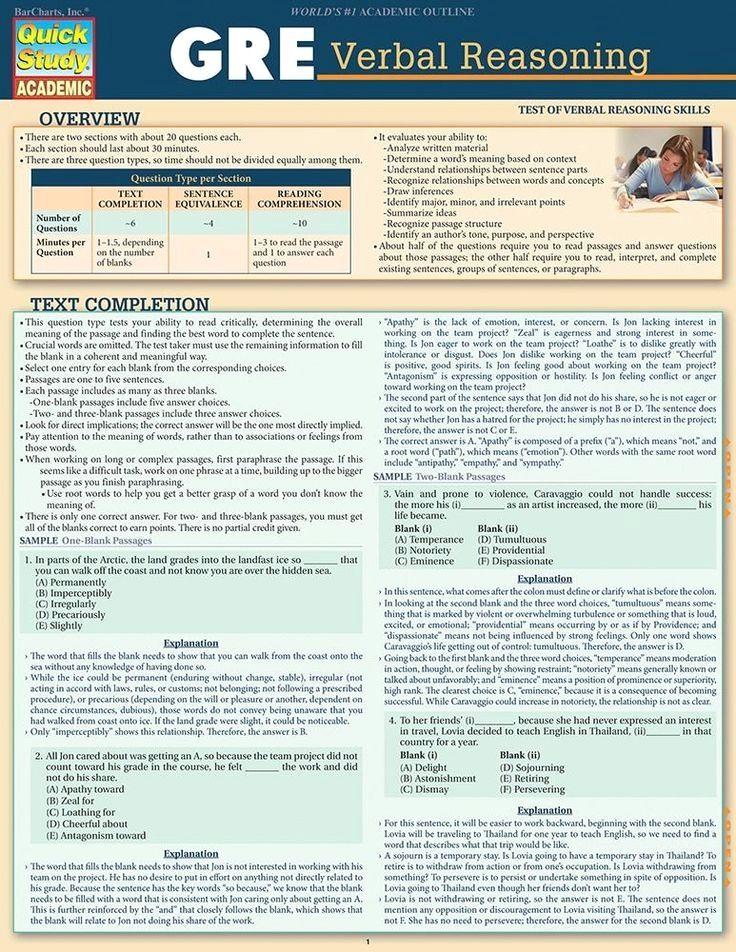 QuickStudy GRE Verbal Reasoning Laminated Study Guide