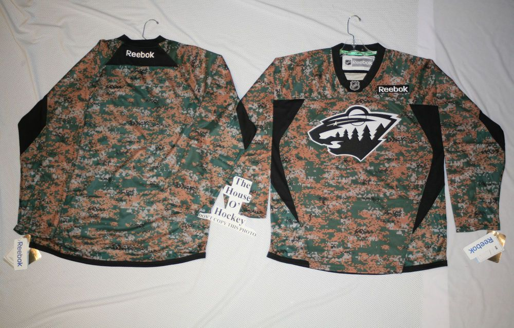 THE HOUSE O  HOCKEY MINNESOTA WILD CAMO CAMOUFLAGE NHL REEBOK PREMIER 7352  HOCKEY PRE GAME JERSEY d35d10edf