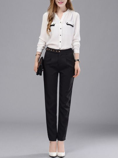 Black Slim Buttons Casual Pant -SheIn(Sheinside) Mobile Site