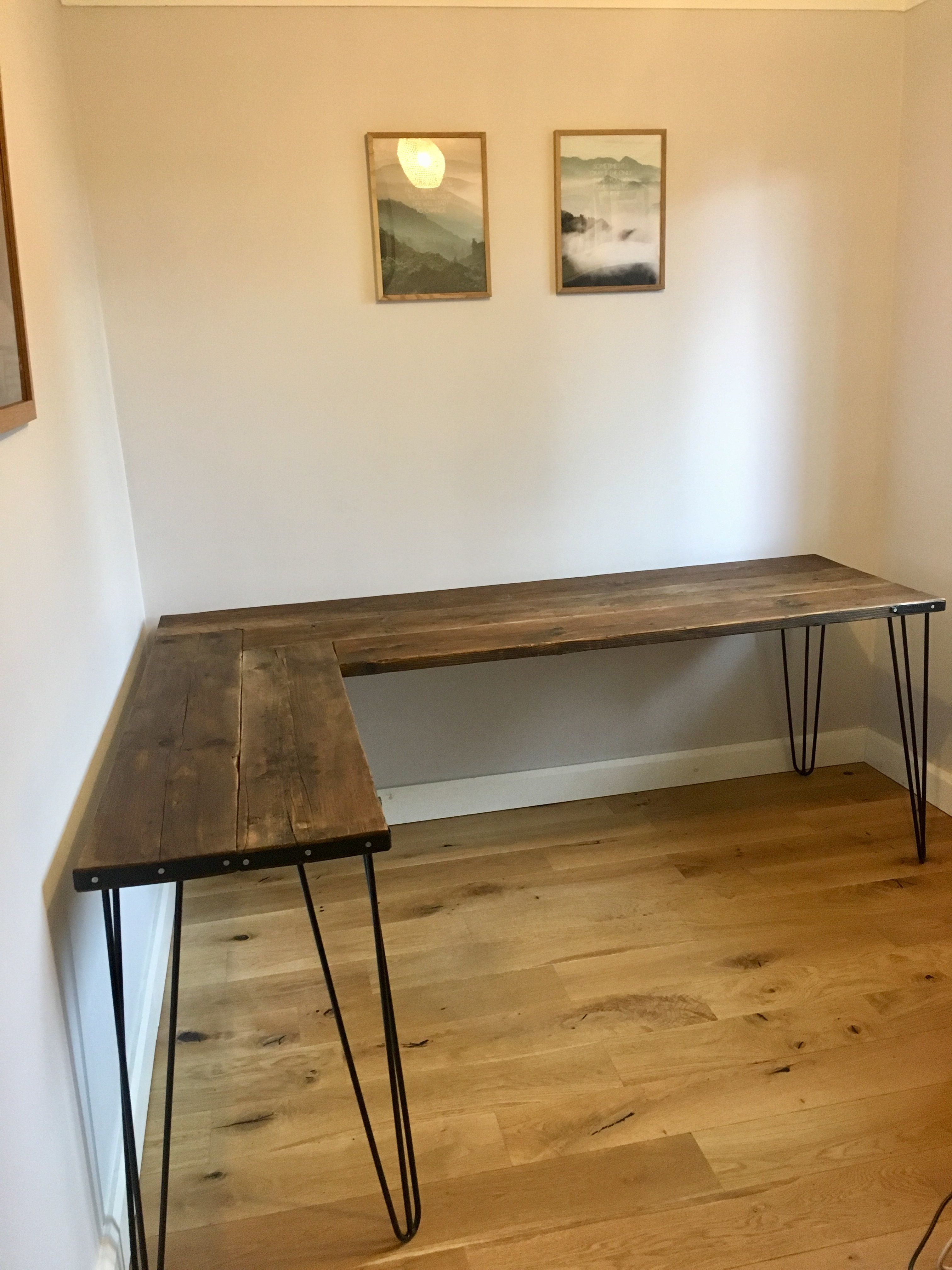 Homemade Corner Scaffolding Board Desk With Hairpin Legs Diy Corner Desk Home Office Design Furniture